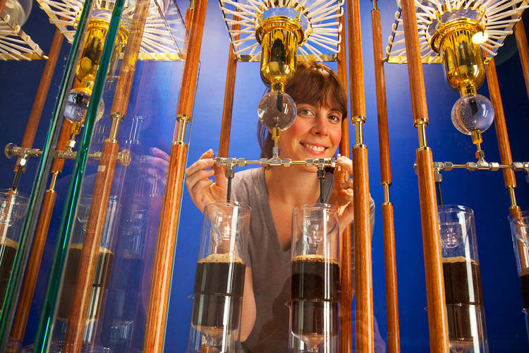 <p>While a San Francisco original, <a href=&quot;http://www.bluebottlecoffee.com/&quot; target=&quot;_blank&quot;>Blue Bottle Coffee</a> has found a welcome home in Williamsburg, Brooklyn. Here, a woman stands behind a contraption used for a Japanese cold water brewing process.</p>