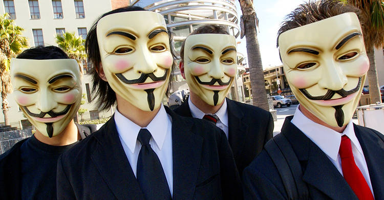 <p>Anonymous, the group of hacktivists, adopted the mask of Guy Fawkes, the leader of a failed attempt to assassinate King James I in 17th Century Britain. The image of Fawkes' face was also popularized by the 2005 film V For Vendetta.</p>  <p><a href=&quot;http://www.flickr.com/photos/sklathill/2255718951/in/photolist-4rk9E4-ao6MNZ-5EUg87-3U6Ucs-2XV9qC-8RKf8r-5APSp6-aBCUnS-7drRnj-aDxJi6-3U62Ru-8RokWe-5zRec5-3PnyS8-8RyPEN-5Amguu-arTeea-3UbssG-4W7ujp-awhsmq-rArjW-dqnRtC-aDzf4r-3U8NDN-dqnKv8-9eLer6-bBWK7Z-6J9xEY-7dJH6n-8R2tDM-3U9brf-efYPu8-aD8nmG-4rhx6X-dqnE6Z-5AkKLS-3U3bNF-dFqxer-aBWahd-dqnEKH-aozKE1-aCaSHG-7djL4L-aU9baX-3U8hpw-8fUAHz-8zL6oT-6h8JT-rBV5H-6jrxq-3U5hDt/&quot; target=&quot;_blank&quot;>Flickr user Vincent Diamante</a></p>