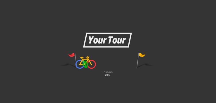 <p>As the site loads, a bicycle icon, in Google colors, pedals away happily.</p>