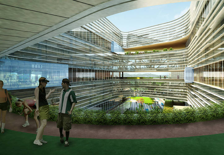 <p>A central courtyard ensures &quot;each Samsung employee will be no further than one floor away from green space.&quot;</p>