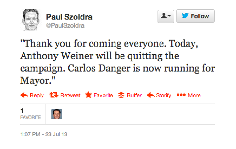 <p>This tweet from <em>Business Insider</em>'s Paul Szoldra's was meant as a joke, but to voters, and likely comedians, Weiner will be Carlos Danger from this day forward.</p>