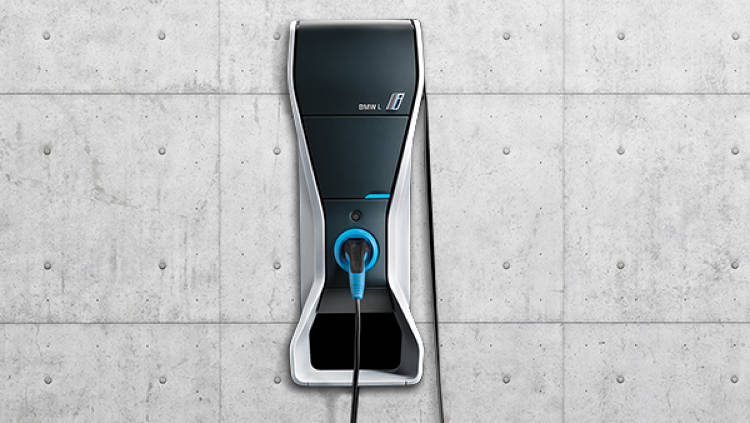 <p>The i3 comes with a charging station that can be mounted on a wall of your home or garage.</p>