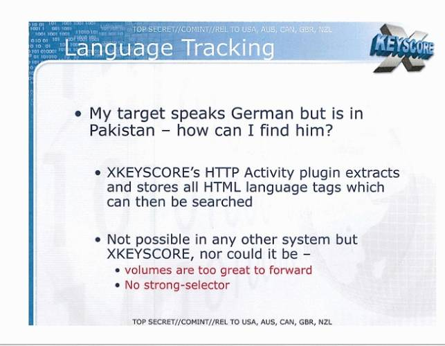 <p>XKeyscore allows NSA analysts to track targets through the languages they speak.</p>