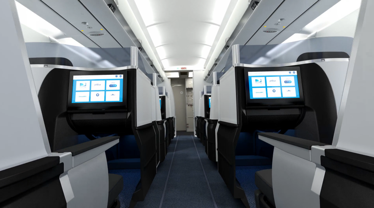 <p>Business class seats have 15-inch widescreen TVs.</p>