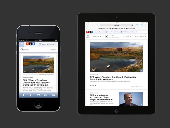 <p>The new responsive design with adjust to fit mobile devices, which make up roughly half of NPR.org's audience.</p>