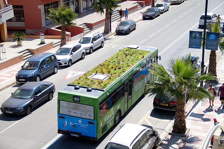 <p>The Phytokinetic garden is designed by Marc Ganen, a landscape artist from Spain. He's fixed his lightweight steel-and-carpet system to several buses already, and he wants to add a lot more, seeing as it is an efficient way to green cities.</p>