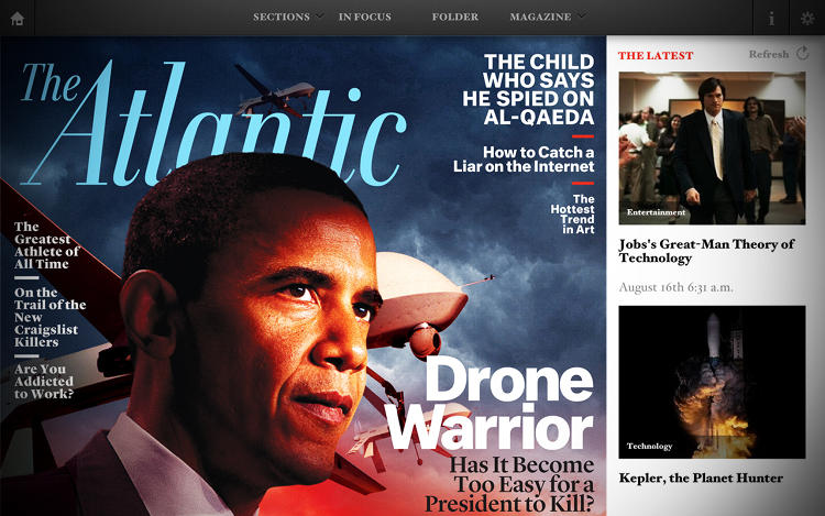 <p><em>The Atlantic</em>'s tablet edition gives print subscribers everything they love about the traditional format while supplementing it with headlines from the web.</p>