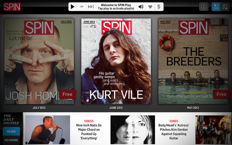 <p>Each edition of <em>Spin</em> magazine on the iPad is more than just an issue: It's also a playlist.</p>