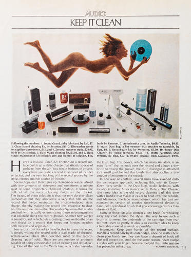 <p>The original products was for sprucing up record players and vinyl (not iPads). Here, AM gets a mention in a <em>Playboy</em> magazine article, on Hugh Hefner-approved home entertainment systems.</p>
