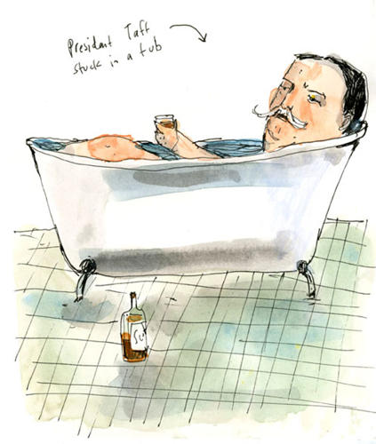 <p>President William Howard Taft, tippling while bathtub-bound.</p>