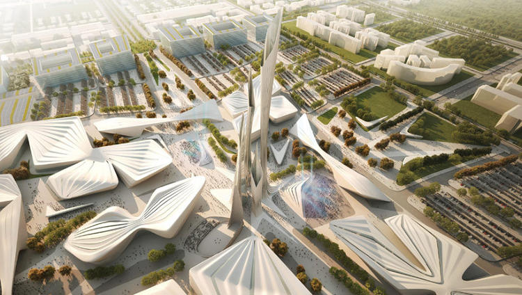 <p>All of the proposals play with a huge city block in Astana, Kazakhstan's capital city. Emphasis on the <em>play.</em></p>  <p>Above: Zaha Hadid Architects (U.K.) phone in this dense collection of lozenges. A series of closely packed towers (public art?) is not exactly groundbreaking design.</p>