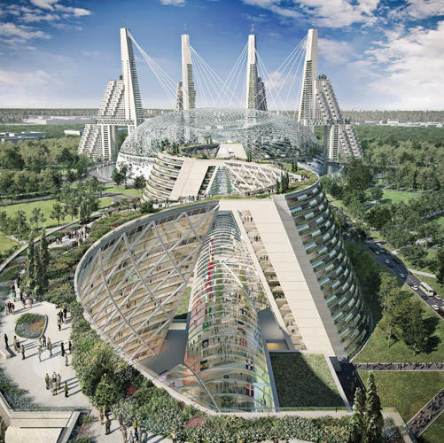 <p>The World Expo 2017 in Kazakhstan has announced its 45 architectural finalists.</p>  <p>Among them, see above: Safdie Architects (U.S.) propose an eco-city comprised of a snaking glass landmass, a central dome, and a series of staggered, ziggurat-like tower spikes. As expected, pretty much everything is covered in green.</p>