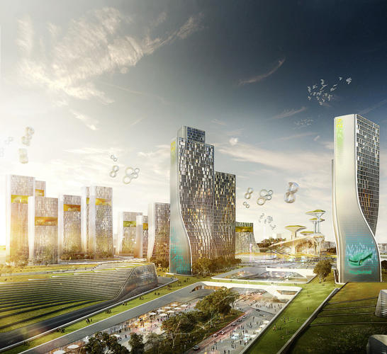 <p>UNStudio (Netherlands) concoct this quasi-urban collection of wavy glass towers, which will probably be filled with &quot;mixed-use, luxury housing&quot; post-Expo. Again, points off for cheesiness in the rendering, this time in the form of doves.</p>