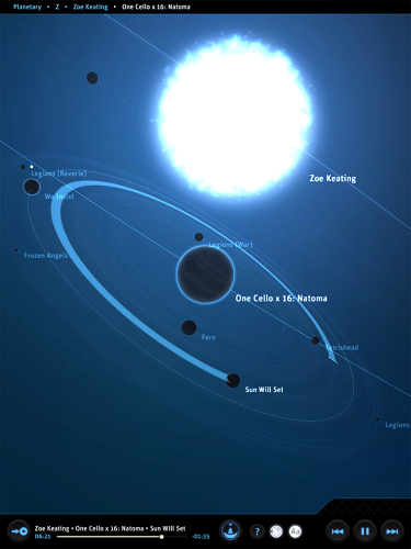 <p>The app is called <em>Planetary</em> and it turns your iTunes library into a galaxy.</p>