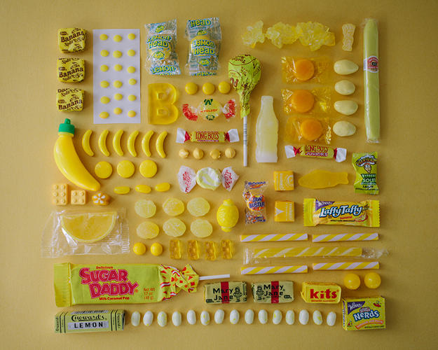 <p>The images collect all kinds of childhood favorites like Nerds and banana candies...</p>
