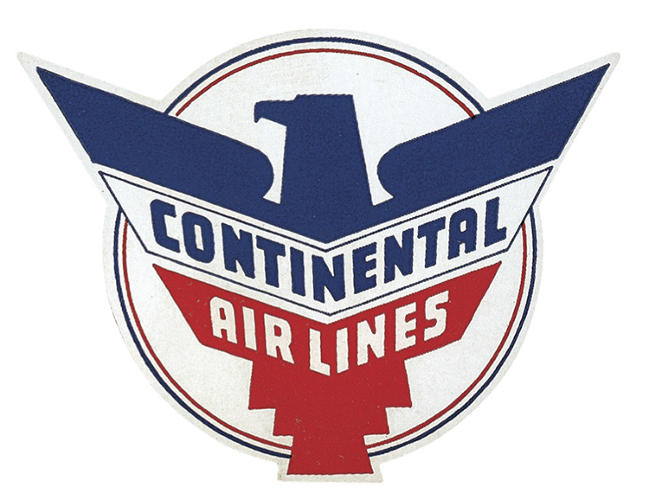 <p>An early Continental Airlines identity features a fierce eagle.</p>