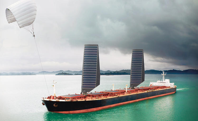 <p>Shipping Cleans Up | <strong>Conventional bulk carrier, with sky sail, solar panels and Air Cavity System.</strong></p>
