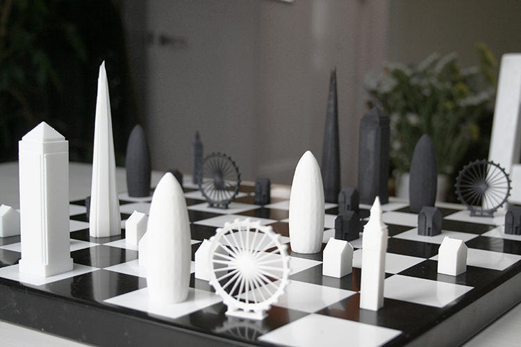 <p>The prototype chess set packs a modern architecture and tech update: The pieces are 3-D printed and designed to mimic most recognizable landmarks.</p>