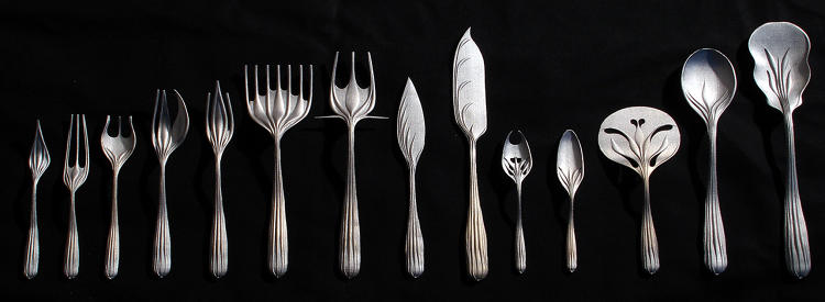 <p><em>Flatware Prototypes</em>, 2004-2007<br /> Steel/brass alloy; direct metal laser sintering (DMLS); Variable dimensions<br /> Los Angeles County Museum of Art, Decorative Arts and Design Council Fund</p>