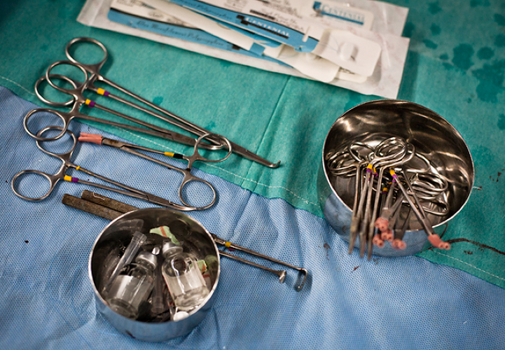 <p>Detail of surgical instruments in an operation theatre of the Narayana Hrudayalaya in Bangalore, Karnataka, India.</p>