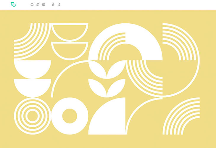 <p>The exercise has been given a trendy update, with the geometries elegantly styled. The white shapes, which vary in thickness, are layered onto bold backgrounds of solid colors. Users can cycle through shapes until they find a combination or stumble onto one.</p>