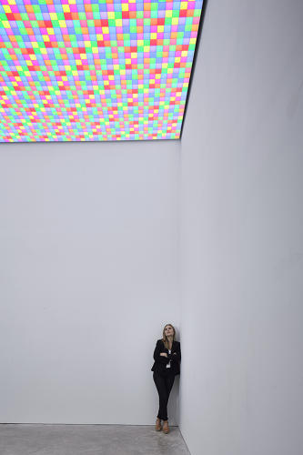 <p>The ceiling piece, <em>White Light</em>, uses thousands and thousands of colors on the ceiling that, when merged, cancel each other out.</p>