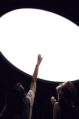 <p>The Friedman Benta gallery show includes three pieces: a table, a light installation, and a giant dome filled with white light.</p>