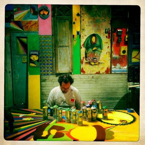 <p>Sitting in quiet awe with Gustavo, 50% of the Brazilian powerhouse Os Gemeos. My modus operandi is simple: do good things with good people. Museum of Contemporary Art, Los Angeles</p>