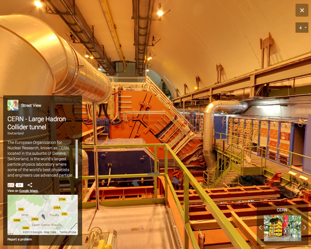 <p>The image archives are extensive, letting you walk around the curving tunnels that contain the particle accelerator at the heart of the LHC.</p>