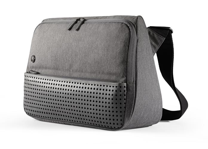 <p>The triangular shape of the Evernote Triangle Commuter Bag helps keep the bag upright, even when thrown on the floor.</p>