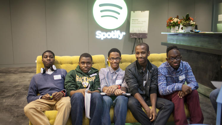 <p>About 20 students gathered at the brand-new Spotify headquarters in the Flatiron District of New York City.</p>