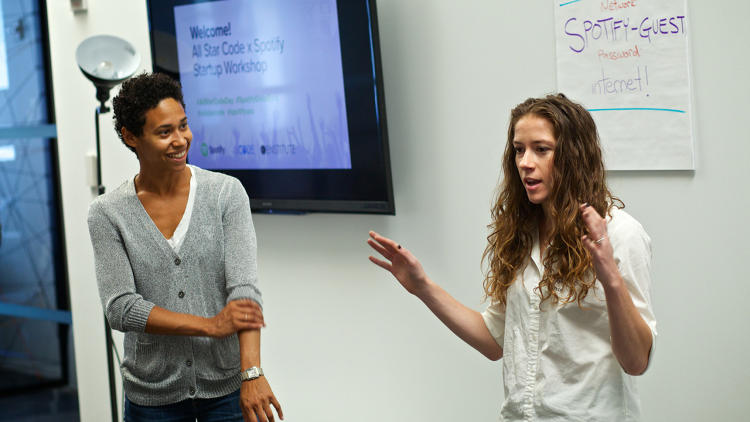<p>Spotify's Britt Morgan-Saks and Kerry Steib delivered opening remarks.</p>