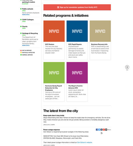 <p>See how images have been replaced by placeholders? And alerts are tagged with a red/yellow/green iconography? This is the result of designers living through Hurricane Sandy and learning firsthand what the city needed to provide in emergencies.</p>