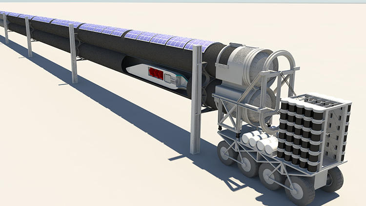 <p>Using 3-D visualization and collaboration software, Brandt re-aligned the tubes of the Hyperloop--in a horizontal configuration in Musk's plan--into a vertical, figure-eight style design.</p>