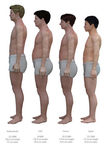<p>Artist and researcher Nickolay Lamm came up with a simple yet effective way to illustrate the differences in obesity between the U.S. and other, healthier countries: digital images of average middle-aged men standing next to each other.</p>