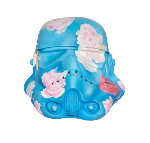 <p>This rosy soldier gets in touch with his feminine side.</p>  <p>Antony Micallef, 'Peace Maker.' Acrylic Capped ABS Storm Trooper head painted by Antony Micallef. 2013. Signed by Antony Micallef and Andrew Ainsworth. Image: Bran Symondson</p>