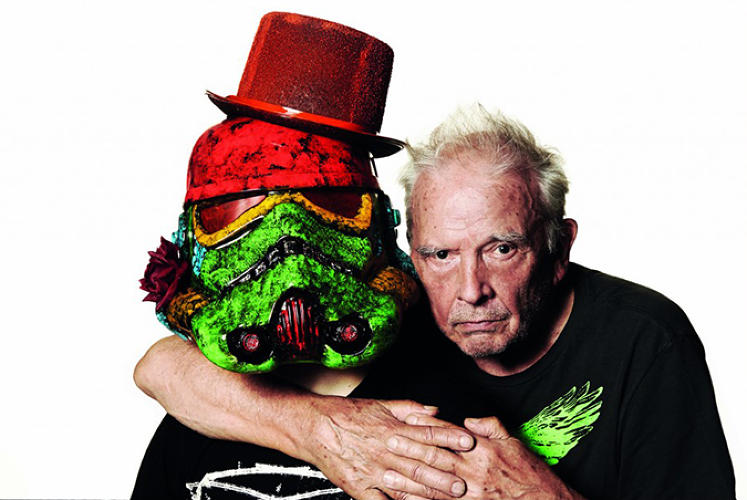 <p>Artist David Bailey gets cozy with his gem-encrusted trooper pal.</p>