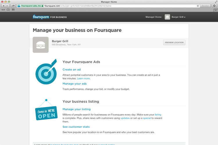 <p>After months of testing, Foursquare is finally opening its ad platform to small businesses.</p>