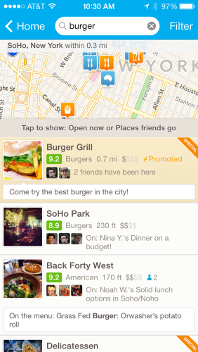 <p>Ads will appear as promoted items within Foursquare user feeds.</p>