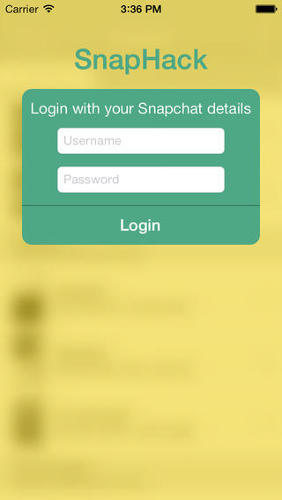 <p>SnapHack asks users to log in with their Snapchat account information.</p>