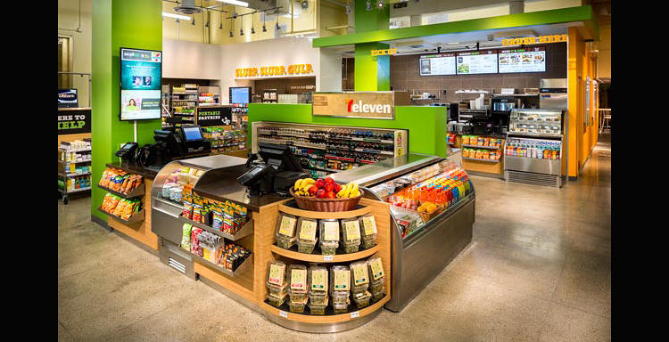 <p>Gone are the red-and-green stripes that marked the interior of 7-Elevens previously: now, it looks almost like a Whole Foods.</p>