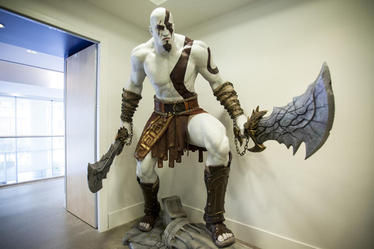 <p>A statue of Kratos from <em>God of War</em> in PlayStation's headquarters.</p>