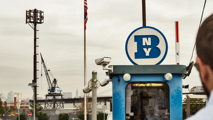 <p>Entering the Brooklyn Navy Yards.</p>
