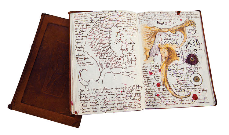 <p>Del Toro  reviews old sketch books before beginning new  projects.</p>