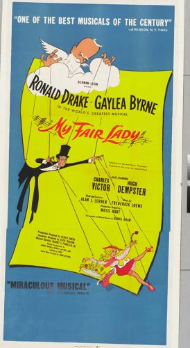 <p><em>My Fair Lady </em>window card, 1956. The exhibition also includes video interviews with Hirschfeld from the Library's Theatre on Film and Tape Archive and highlights from the starry dedication of the Al Hirschfeld Theatre in 2003.</p>
