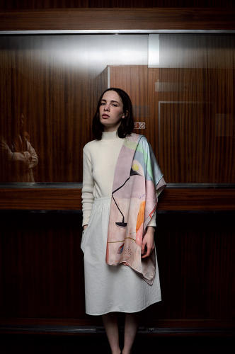<p>Often modeled like modernist capes, they could just as easily be hung on a wall as colorful tapestries.</p>