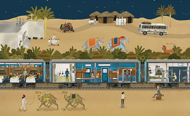 <p>The volume is packed with film ephemera including stills, storyboards, and set photos, as well as original illustrations by Max Dalton.</p>  <p>Above: <em>The Darjeeling Limited</em>'s namesake train, by Max Dalton.</p>