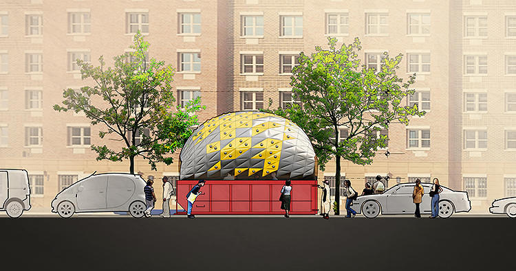<p>The scheme is simple: Take an empty, temporarily parked dumpster and fill it with an inflatable dome. The DUB has launched a <a href=&quot;http://www.kickstarter.com/projects/851648659/inflato-dumpster&quot; target=&quot;_blank&quot;>Kickstarter</a> to help turn the novel concept into reality.</p>