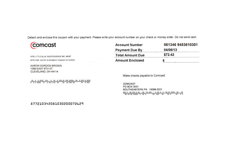 <p>A fabricated cable bill for Aaron Brown</p>