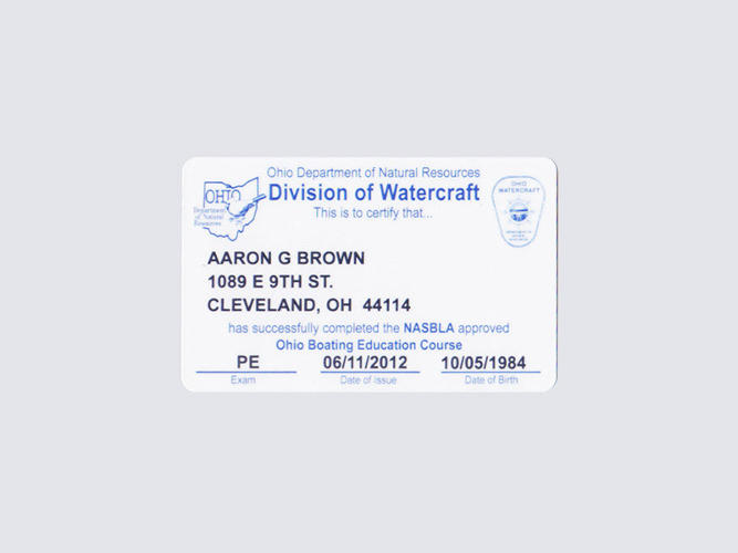 <p>Aaron's boating license</p>